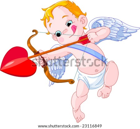stock vector : Illustration of a Valentine's Day cupid ready to shoot his