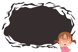 Illustration of a very angry little girl. A cartoon style background expressing feelings of anger.