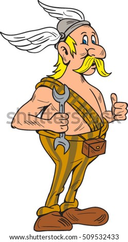 Illustration of a viking repairman holding spanner thumbs up set on isolated white background done in cartoon style.