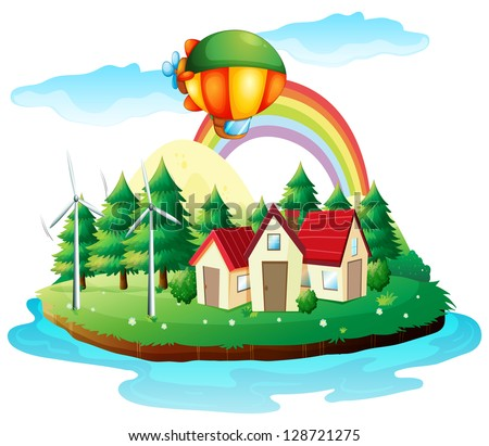 illustration of a village in an