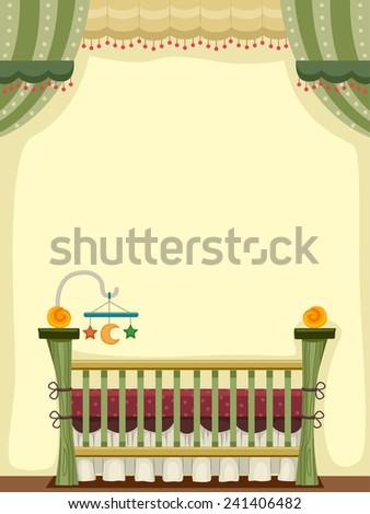 illustration of a vintage crib...