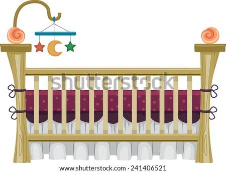 illustration of  a vintage crib ...