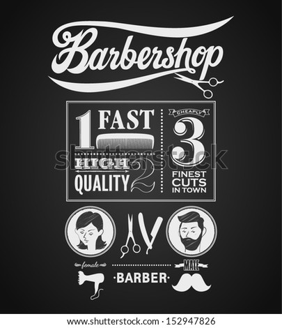 Illustration of a vintage graphic element for barbershop on blackboard