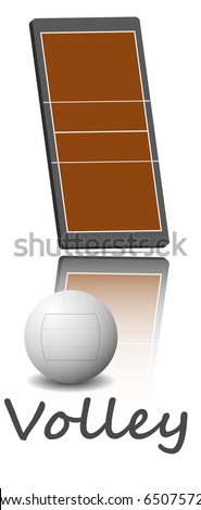 Illustration of a volleyball field and ball. Each element on a separate layer.