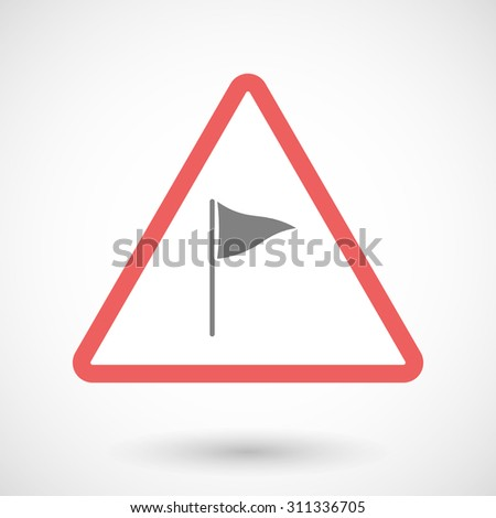 Illustration of a warning sign with a golf flag