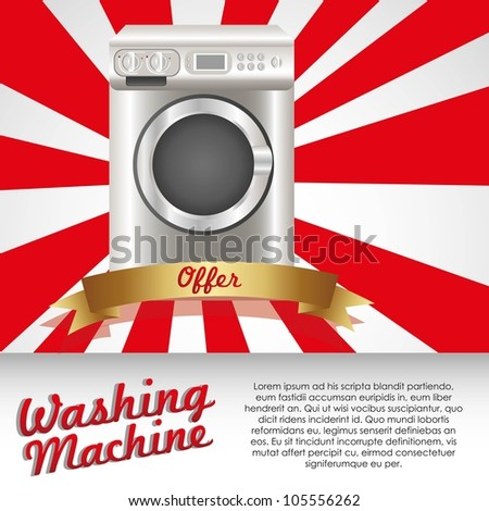 Illustration of a washing machine, isolated on white background, vector illustration