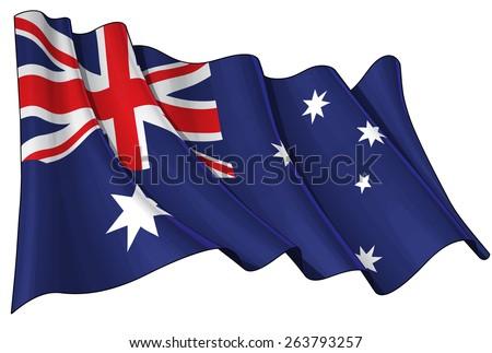 Illustration of a waving Australian flag against white background