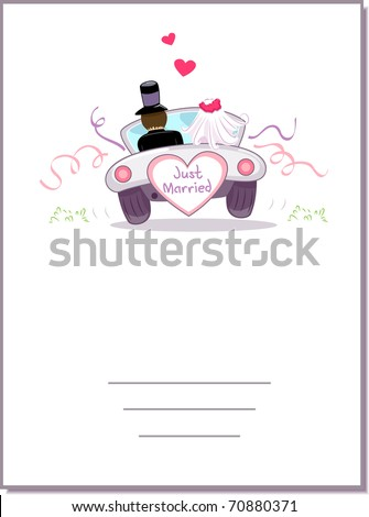 Illustration of a Wedding Car Driving Away