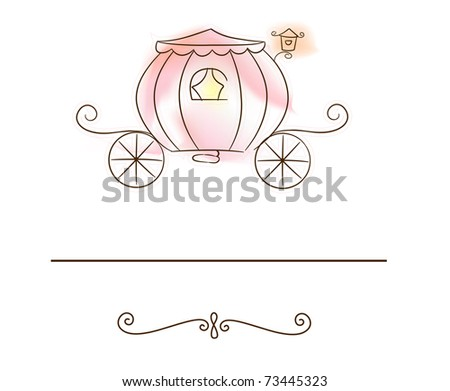 stock vector Illustration of a Wedding Card Featuring a Carriage