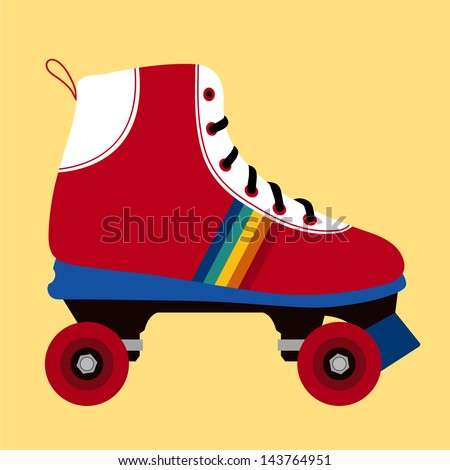 Illustration of a white and red skating shoe on yellow background