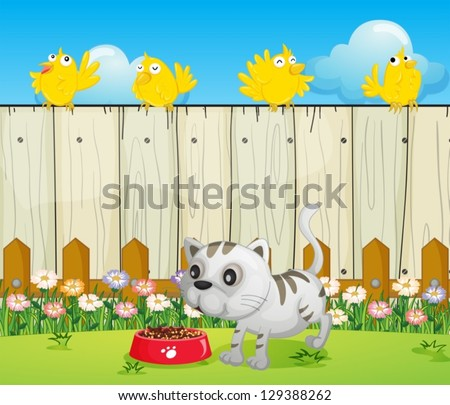 illustration of a white cat