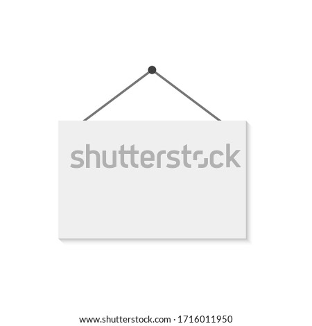 Illustration of a white hanging sign isolated on a light background. ストックフォト ©