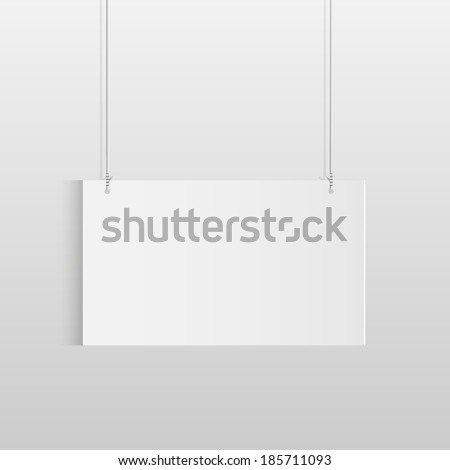 Illustration of a white hanging sign isolated on a light background.