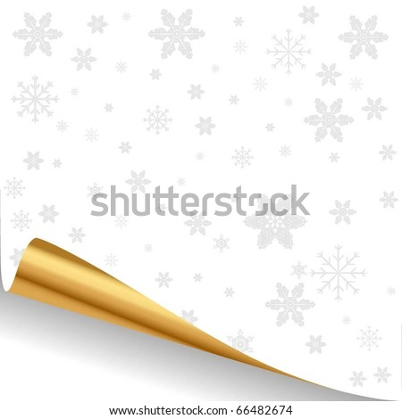 Illustration of a white sheet of paper with a gold curved edge. Vector.