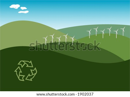 Illustration of a windfarm on green hills with clean blue sky. Renewable / Alternate energy