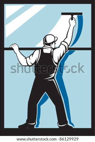 illustration of a window washer worker washing  viewed from rear done in retro style