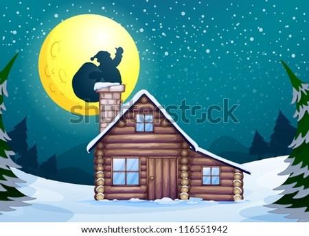 Illustration of a winter christmas scene - stock vector