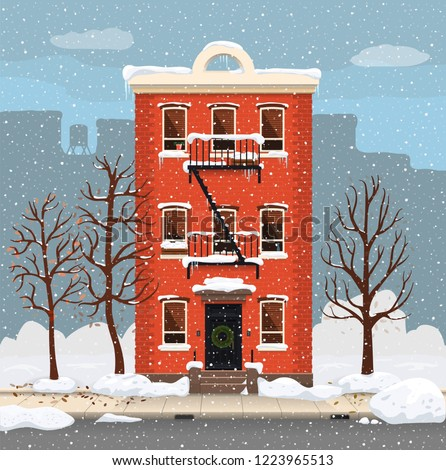 Illustration of a winter city landscape with townhouse and trees. Flat art style. Housing, real estate market, architecture design, property investment concept banner.