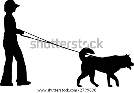 illustration of a woman and dog