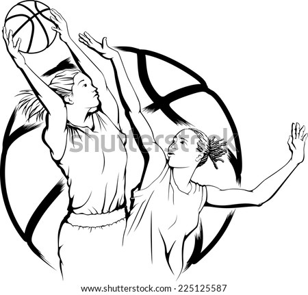 illustration of a woman basketball player grabbing a rebound with another woman defending her.