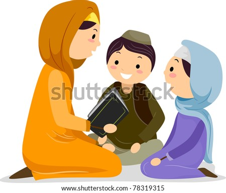 Illustration of a Woman Reading the Koran for the Children
