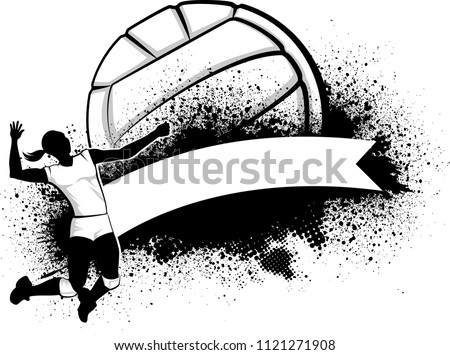 illustration of a woman volleyball player soaring to the basket over a curved banner with a stylized volleyball and grunge elements in the background.