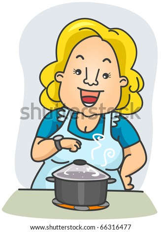 Illustration of a Woman Waiting in Front of the Food She is Cooking