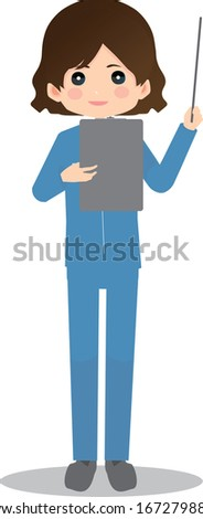 Illustration of a woman wearing work clothes