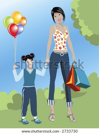 illustration of a woman with her daughter shopping