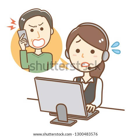 Illustration of a woman working at a call center.She is dealing with complaints. Photo stock ©