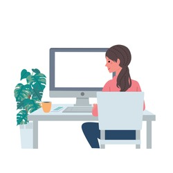 Illustration of a woman working on a personal computer