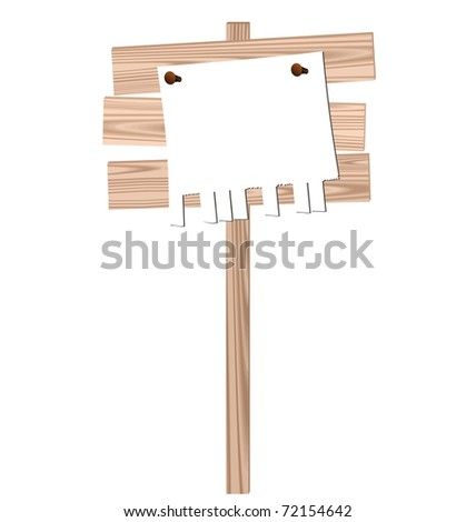 Illustration of a wooden billboard with the enclosed nails pure advertisement sheet isolated on white background - vector