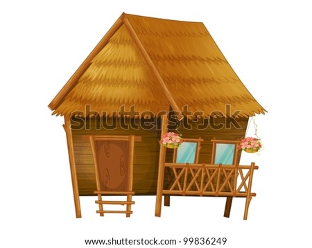 Illustration of a wooden hut