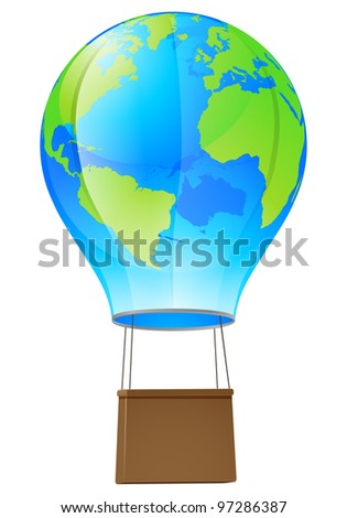 Illustration of a world globe hot air balloon