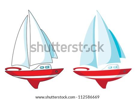 illustration of a yacht set