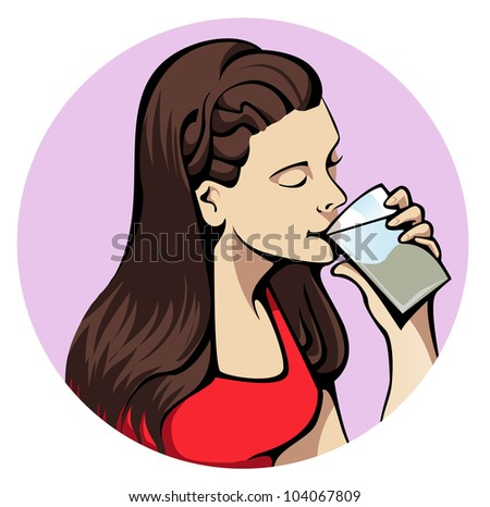 Illustration of a young attractive woman drinking a glass of water