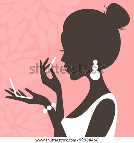 Illustration of a young beautiful woman applying compact powder on her face.