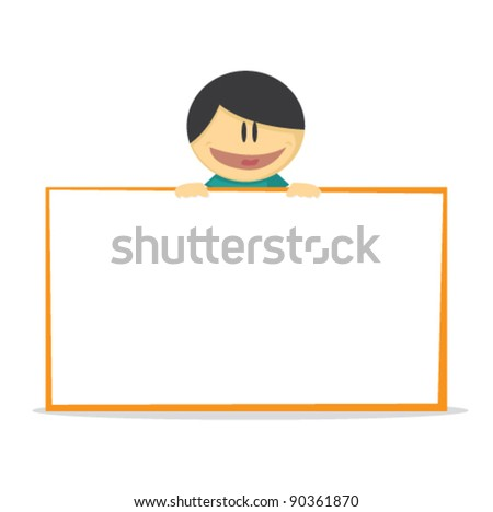 illustration of a young boy holding board