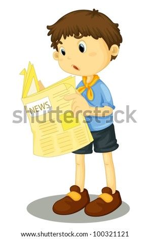 Illustration of a young boy reading the paper