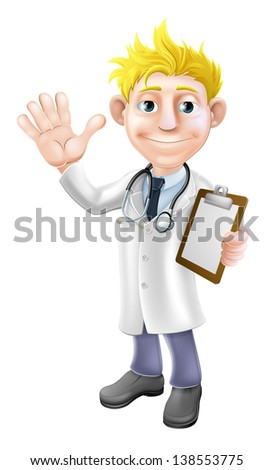 Illustration of a young cartoon doctor waving and holding a clipboard