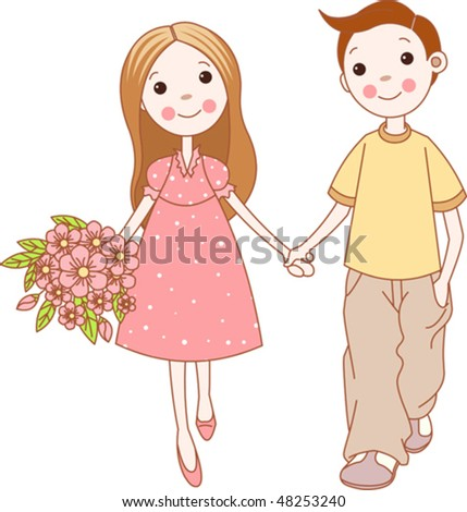 stock vector : Illustration of a young couple holding hands.