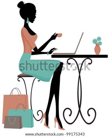 Illustration of a young elegant woman having coffee and using a laptop.