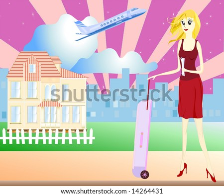 Illustration of a young girl / woman leaving home. View of city buildings and airplane in the background, detailed private house, female with a suitcase.
