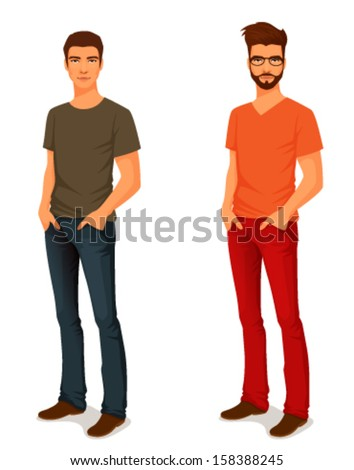 illustration of a young handsome man in casual clothes or more eccentric hipster fashion
