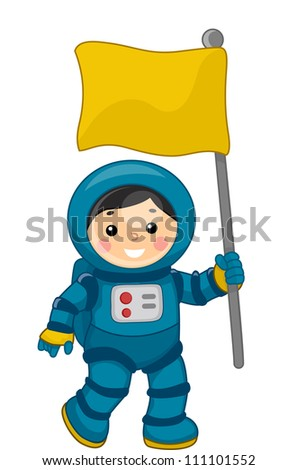 Illustration of a Young Male Astronaut Carrying a Flag in Outer Space