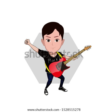 illustration of a young man posing in a rock star style. hands clenched while playing the electric guitar with a t shirt labeled rock. Vector cartoons that can be used for caricature or mascot.