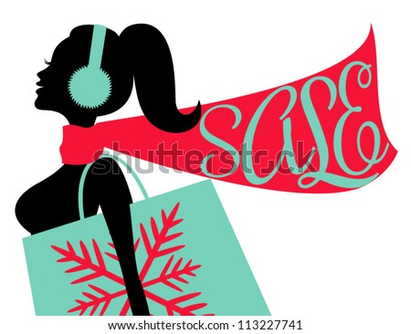 Illustration of a young woman doing some Christmas shopping.