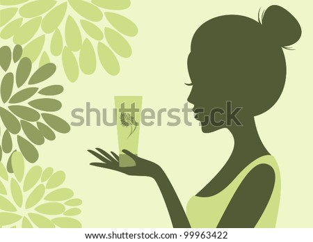 Illustration of a young woman holding a bottle of lotion. Choose natural cosmetics concept.