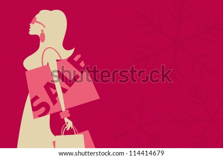 Illustration of a young woman shopping for Christmas.