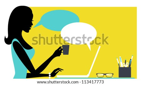 Illustration of a young woman with laptop.
